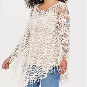 NWT Torrid Ivory Crochet Poncho